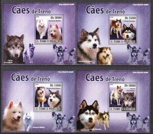 {028} Sao Tome & Principe 2008 Dogs 4 S/S Deluxe MNH**