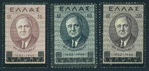 Greece 469-471, MNH. Michel 509-511. President Franklin Delano Roosevelt. 1945.