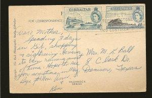Gibraltar 137 & 140 on Postmarked 1950 Rock of Gibraltar Postcard