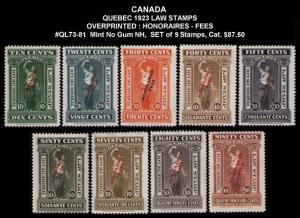 CANADA, QUEBEC REVENUE 1923 #QL73-QL81 VF SET 9 LAW STAMPS CV $87.00 MINT NO GUM