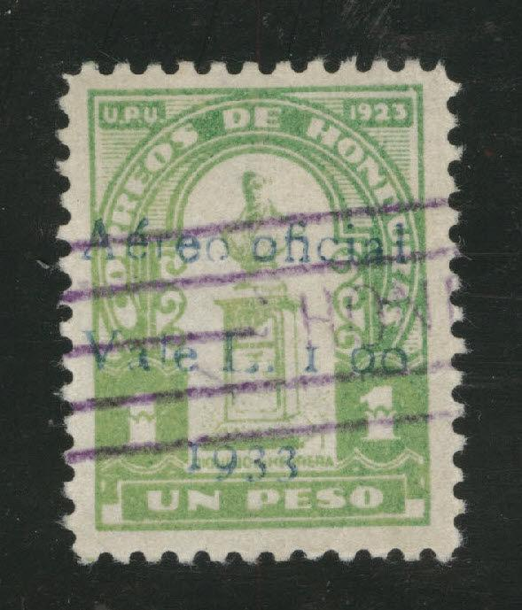 Honduras Sanabria 128 Lempira Issue L.1.00 on 1P blue opt 1933 only 800 issued
