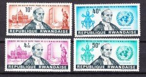 J27277, 1966 rwanda set mh #147-50 pope paul