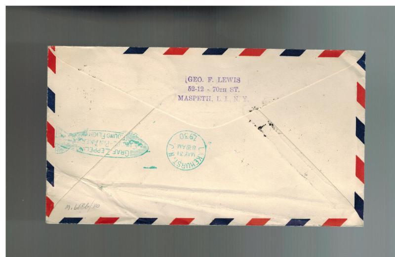 1930 Brazil Graf Zeppelin cover Private Condor Stamp USA Overprint