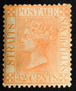 MALAYA 1887 STRAITS SETTLEMENTS QV 32c MH CA SG#70 M2708