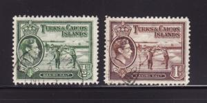 Turks and Caicos Islands 79-80 U George VI, Raking Salt (A)