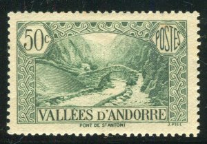 FRENCH ANDORRA; 1932 early Pictorial issue fine Mint hinged 50c. value