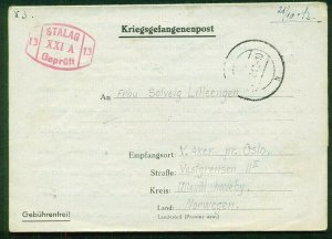 NORWAY 1943, P.O.W. in Germany cover (Stalag XXIA), VF