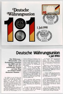 Germany 1990, German monetary union. , coin cover