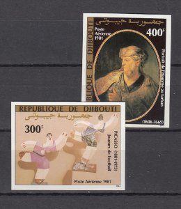DJIBOUTI SC# C147-C148 PAINTINGS BY PICASSO & REMBRANDT MNH - IMPERF