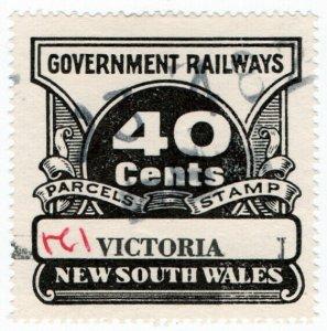 (I.B) Australia - NSW Government Railways : Parcels Stamp 40c (Victoria)