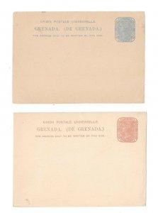 2 Grenada UPU Postal Stationery Cards HG 1 and 2 QV 1p 1 1/2p 1881 1882  Unused