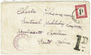 Tristan da Cunha 1938 type VI cachet on cover to South Africa, postage due