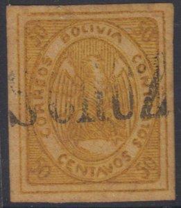 BOLIVIA 1867-68 CONDOR Sc 5 Yvert 5 USED BY S. CRUZ S/L CANCEL €60.00
