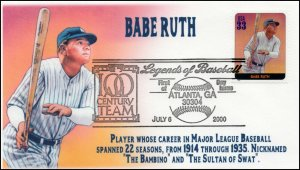 AO 3408H, 1989, Legends of Baseball, FDC, Add On Cachet, Babe Ruth, SC 3408h
