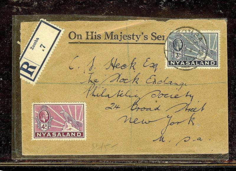 NYASALAND (P1210B) KGV LEOPARD 3D+4D REG COVER FROM ZOMBA TO USA