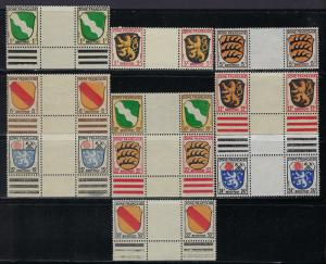Germany - under French occupation - Scott # 4N1 - 4N10, mint nh, gutter pairs