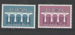 Iceland Sc 588-9 1984 Europa 25th Anniversary stamp set NH