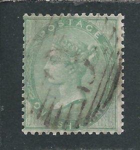 GB-QV 1855-57 1s PALE GREEN FU SG 73 CAT £350
