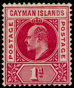 CAYMAN ISLANDS SG 4, 1d carmine, UNUSED.