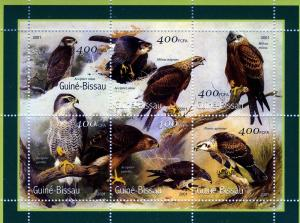 Guinea Bissau 2001 OWLS BIRDS OF PREY Sheet Perforated Mint (NH)
