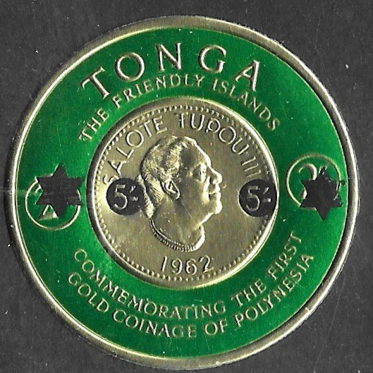 Tonga # 144 Gold Coin on stamp -  revalued  (1) NH ***U.S.A. ORDERS ONLY*