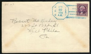 USS KALMIA AT-23 FLEET TUG NAVAL COVER WITH 3c STAMP TIED BLUE FANCY CANCEL F