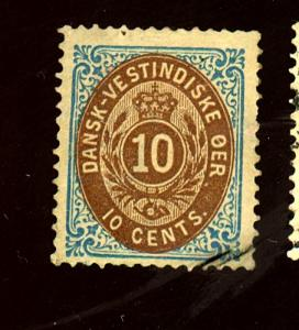 Danish W Indies #10 MINT F-VF No Gum HR Cat $30