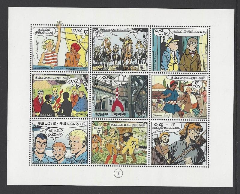 Belgium 1999 Cartoon Comic Sheetlet VF MNH (1771)