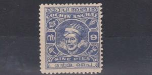 COCHIN 1943      S G  89    9P ULTRAMARINE  NO GUM  CAT £90