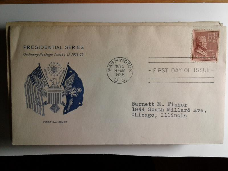 SCOTT # 823 EIGHTEEN CENT GRANT PRESIDENTIAL ISSUE FIRST DAY OF ISSUE 1940