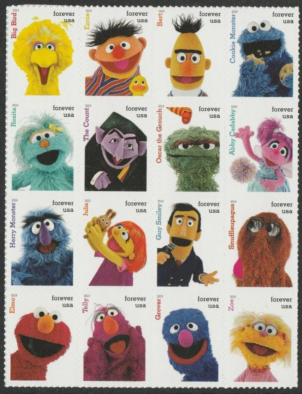 US 5394 Sesame Street forever block set (16 stamps) MNH 2019