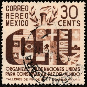 MEXICO C158, 30c Honoring the United Nations. Used VF. (867)