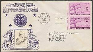 USA 1944 CROSBY photo FDC to New Zealand - 3c Telegraph Centenary..........55567