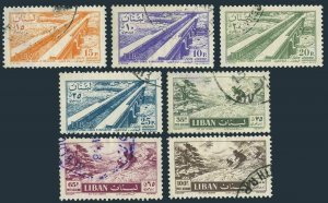 Lebanon C229-C235,used.Michel 583-589. Irrigation Canal,Skiing.1957.