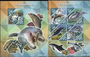 Niger 2015 marine life dolphins klb+s/s MNH