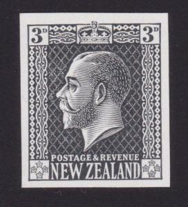 NEW ZEALAND GV surface printed 3d plate proof in black imperf on thin card..7157