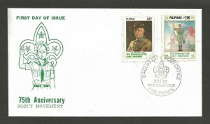 1982 Philippines Boy Scouts 50th anniversary BadenPowell FDC
