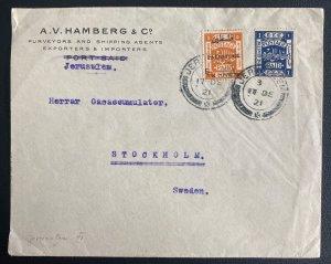 1921 Jerusalem Palestine Commercial Cover To Stockholm Sweden