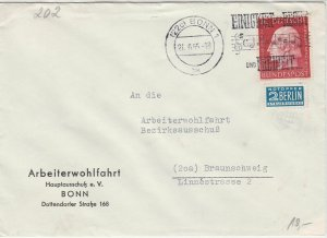 Germany 1955 Bonn 1 Cancel Obligatory Tax Aid for Berlin Stamps Cover Ref 26563
