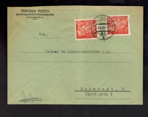 1924 Bratislava Czechoslovakia Judaica cover to Hungary Armin Roth