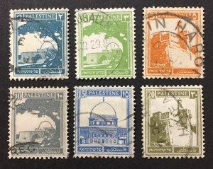 Palestine 1927-42 #63//77(6), Views, Used.