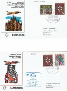 (2) FDC JUNE 24, 1965, HAMBURG TO BREMEN & GERMANY TO MILANO, JET 727, LUFTHANSA