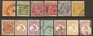 Australia 1931-6 Scott 113-127 King George V and Kangaroos used