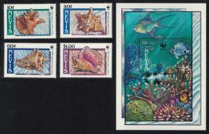 Nevis WWF Queen Conch Shells 4v+MS SG#531-MS535 SC#591-594 MI#523-526