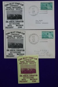 TMPS MS Cedar Valley Stamp Club Waterloo IA 1952 Philatelic Expo Cacahet Cover