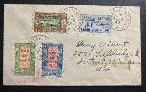 1942 St Pierre & Miquelon Cover To Detroit MI USA France Libre Cv$143.00
