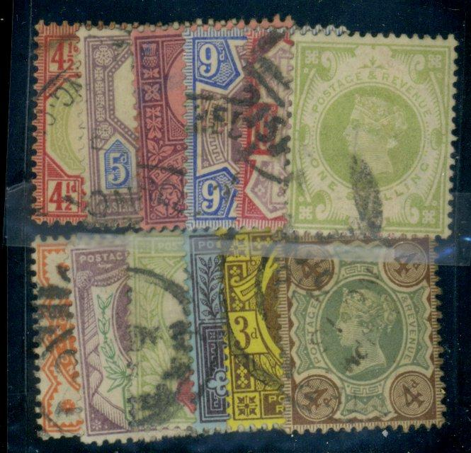 Great Britain #111-122 Used F-VF Cat$250