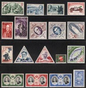 Monaco - !8 Different Stamps ~ Unused, HM, HMR, MX