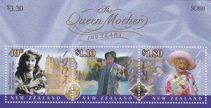 New Zealand # 1665a, Queen Mothers 100th Birthday, Souvenir sheet, NH, 1/2 Cat.