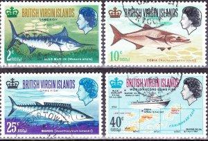 BRITISH VIRGIN ISLANDS 1968 QEII Game Fishing Set SG220-223 FU